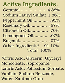 Graphic listiing the active ingredients in Bye Bye Insects