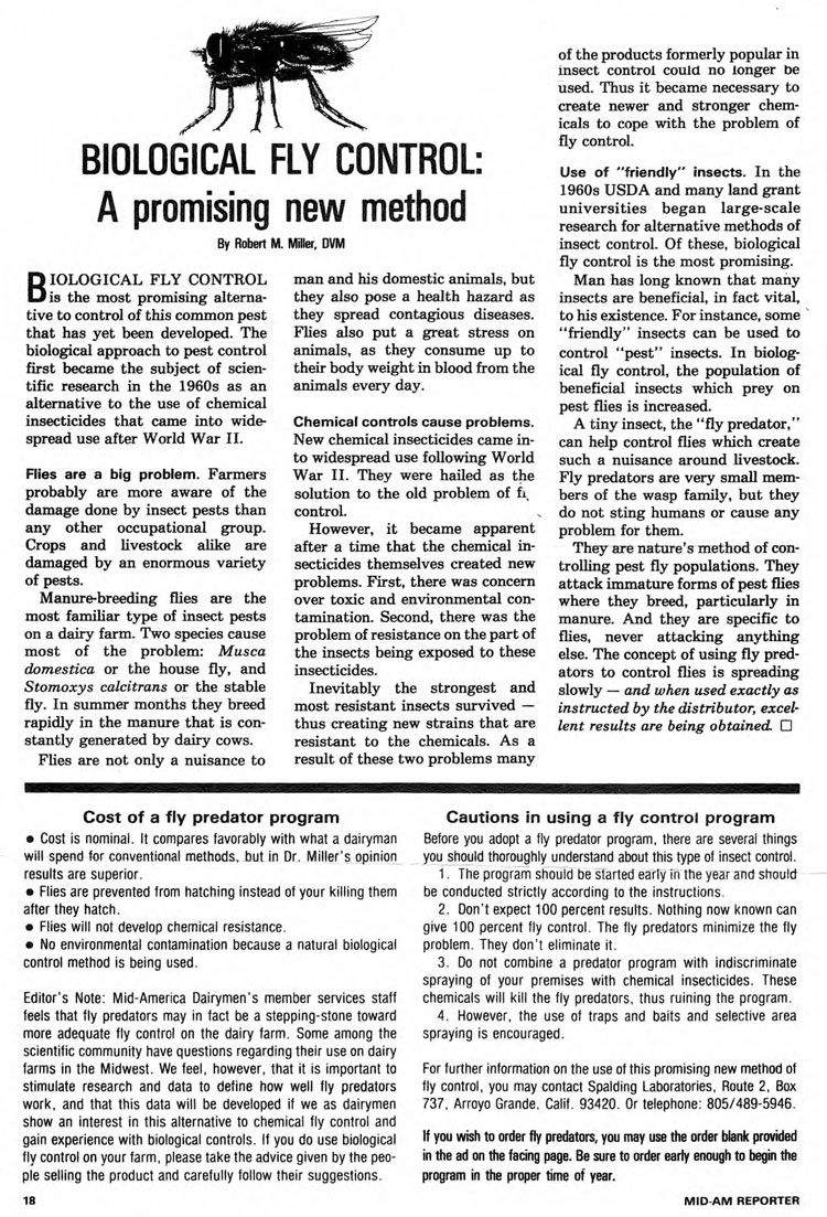 Dr.-Miller-1980-article-about-Fly-Predators-for-Mid-American-Dairymen-1-page