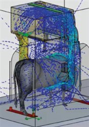 Spalding Labs Cow Vac Flow Pattern Displayed In Computer Simulation.